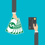 Hand with credit card and cash for your design, Vector illustration Stock Photography