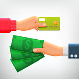 Hand with Credit Card and Hand with Cash Royalty Free Stock Images