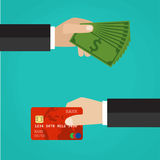 Hand with credit card and hand with cash. Payment methods, cash-out, smart investment, business, cash withdrawal, business, online payment concepts. Flat Royalty Free Stock Photo