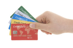 Hand with credit card. Over white background royalty free stock photo