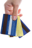 Hand with credit cards Stock Images