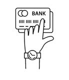 Hand with credit cards line icon vector, internet banking Royalty Free Stock Images