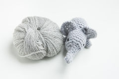 Hand crocheted elephant with wool Royalty Free Stock Photo