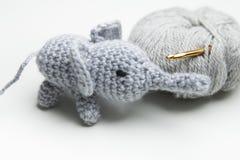Hand crocheted elephant with wool, crochet needle Stock Photography