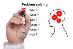 Hand crosses off first item of a problem solving checklist Stock Images