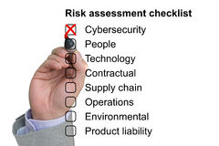 Hand crosses off first item of a risk assessment checklist. Hand crosses off the first item of a risk assessment checklist on white background royalty free stock images
