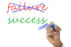 Hand crossing out failure and writing success on board Stock Photos