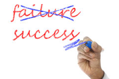 Hand crossing out failure and writing success on board Stock Photo