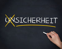 Hand crossing out the german word unsicherheit Stock Photography