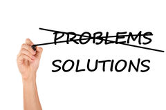 Hand Crossing Problems, Writing Solutions Stock Images