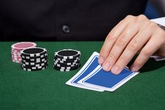 Hand of croupier Royalty Free Stock Image