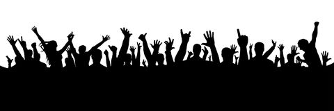 Hand crowd silhouette on white background, vector. Hand crowd silhouette on white background, vector Royalty Free Stock Images