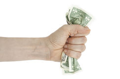 Hand and crumpled money Royalty Free Stock Images