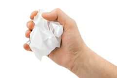 Hand and crumpled paper Royalty Free Stock Image