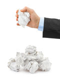 Hand and crumpled paper Royalty Free Stock Photography