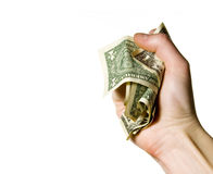 Hand crunching money Stock Photos