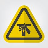 Hand Crush Force From Below Symbol Sign Isolate On White Background,Vector Illustration. Above, accident, area, belt, blade, chain, cog, cogwheel, cut, cutting stock illustration