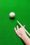 Hand with cue ready to hit Royalty Free Stock Photos