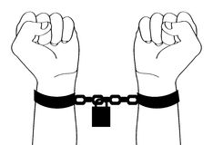 Hand cuffs. Illustration of hands with cuff Stock Photography