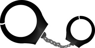 Hand Cuffs. An illustration of hand cuffs with white background Stock Images