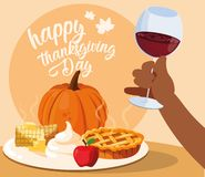 Hand with cup wine and food of thanksgiving vector illustration