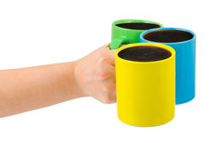Hand with cups Royalty Free Stock Images