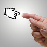Hand cursor. And human hand concept Royalty Free Stock Photos