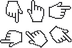 Hand cursor. In six different view angles Stock Image