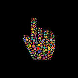 Hand cursor. Vector illustration of hand cursor shape made up a lot of  multicolored small flowers on the black background Stock Image