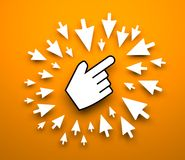 Hand cursor background Stock Images