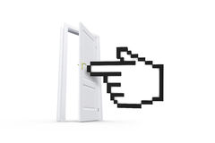Hand Cursor Behind Real Estate Door. Online shopping concept, computer mouse hand cursor symbol behind real estate door for purchase, sale or rent, isolated on Royalty Free Stock Photo