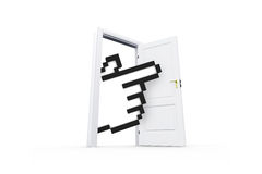 Hand Cursor Behind Real Estate Door Royalty Free Stock Image