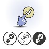 Hand cursor and checkmark icon. Hand cursor pointing finger at checkmark icon. Contour line flat colored vector icon. Different variations for website or app Stock Images