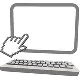 Hand Cursor Click On 3D Computer Monitor Keyboard Royalty Free Stock Photography