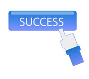 Hand cursor click success button Stock Photography