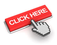 Hand cursor clicking a click here button Royalty Free Stock Image