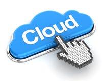 Hand cursor clicking a cloud button, 3d render Stock Photography