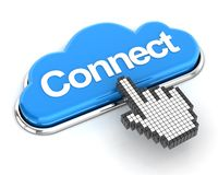 Hand cursor clicking a cloud shaped connect button Stock Image