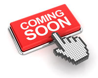 Hand cursor clicking a coming soon button Royalty Free Stock Photography