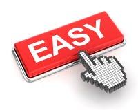 Hand cursor clicking an easy button Royalty Free Stock Photos
