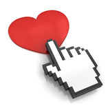 Hand cursor clicking love button or link on white background with shadow and reflection Royalty Free Stock Photos