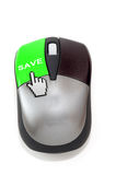 Hand cursor clicking on save button Royalty Free Stock Images
