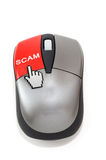 Hand cursor clicking on scam button Royalty Free Stock Photos