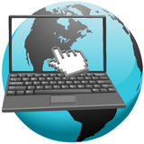 Hand cursor clicks America in laptop screen Royalty Free Stock Photos
