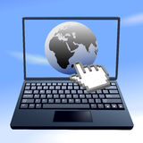 Hand cursor clicks internet world sky computer Stock Photo