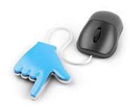 Hand cursor and computer mouse. On white background. 3d rendered image Royalty Free Stock Images