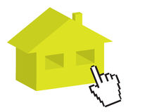 Hand cursor and 3D house Royalty Free Stock Photography