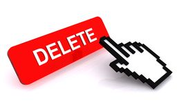 Hand Cursor and Delete Button Stock Photos