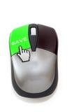 Hand-Cursor, der auf Abwehrknopf klickt lizenzfreie stockbilder
