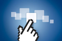 Hand Cursor on Digital Buttons Stock Images